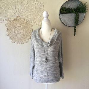 Porridge heather grey cowl neck dolman sweater